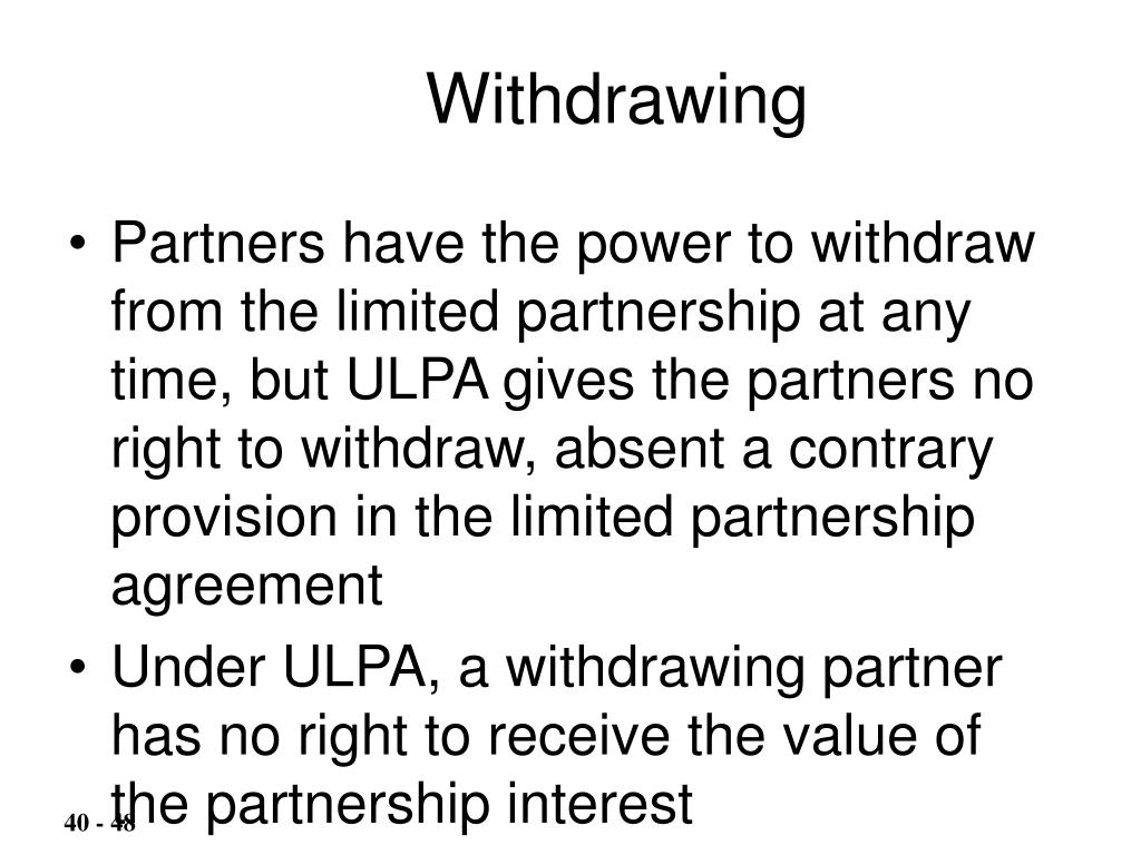 Withdrawing