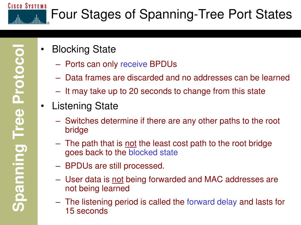 Four Stages of Spanning-Tree Port States