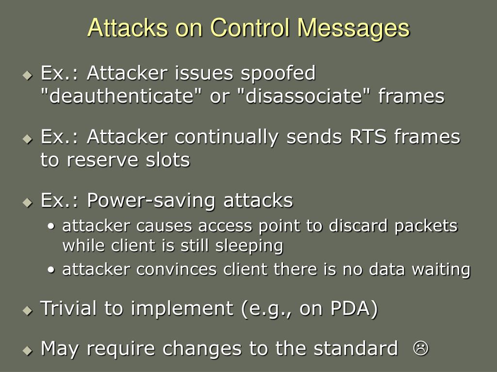Attacks on Control Messages