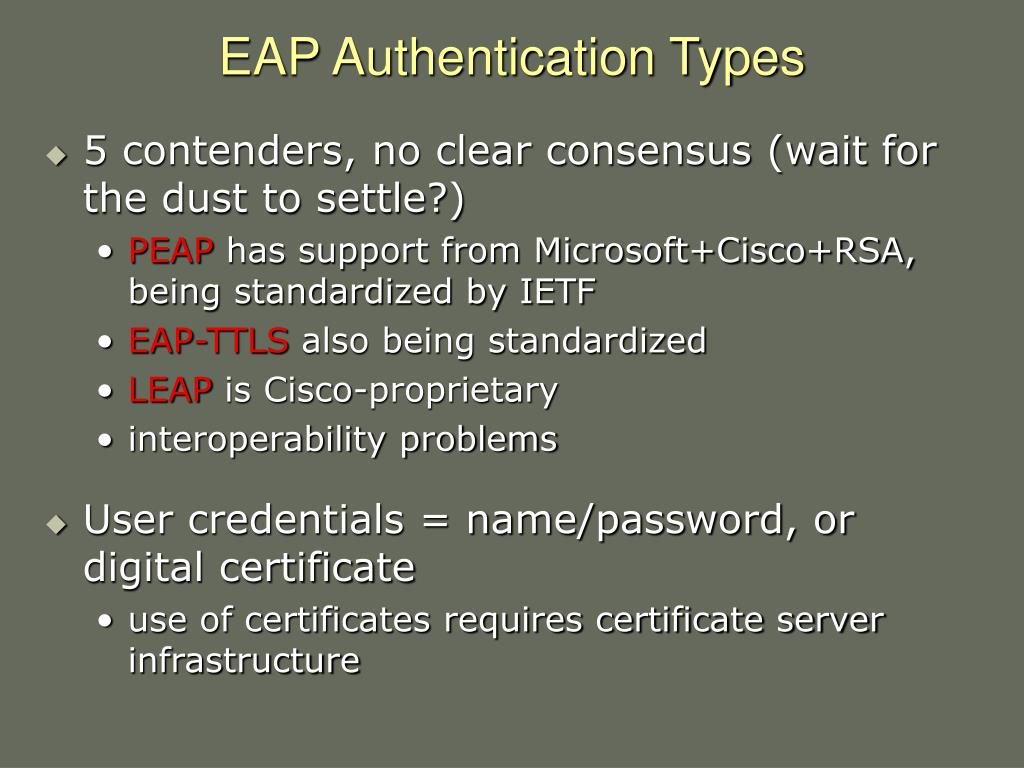 EAP Authentication Types