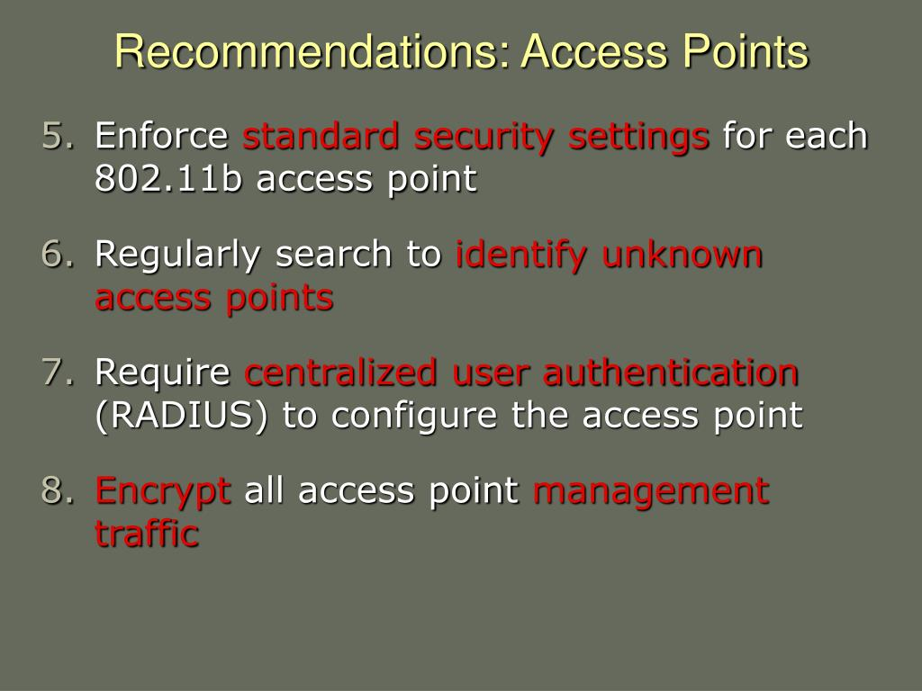 Recommendations: Access Points
