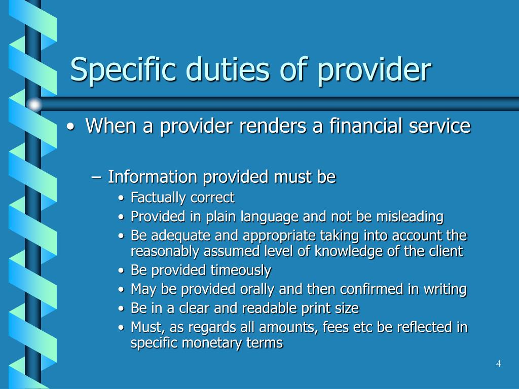 Specific duties of provider