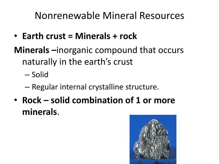 Nonrenewable mineral resources