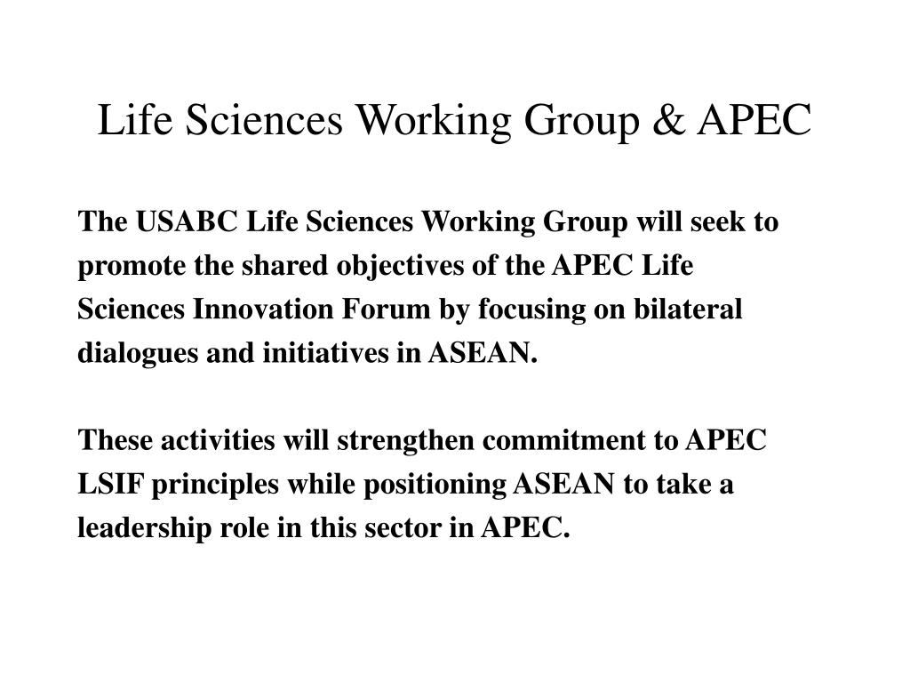 Life Sciences Working Group & APEC
