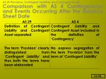 comparison with as 4 contingencies and events occurring after the balance sheet date