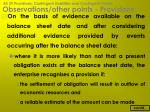 observations other points provisions