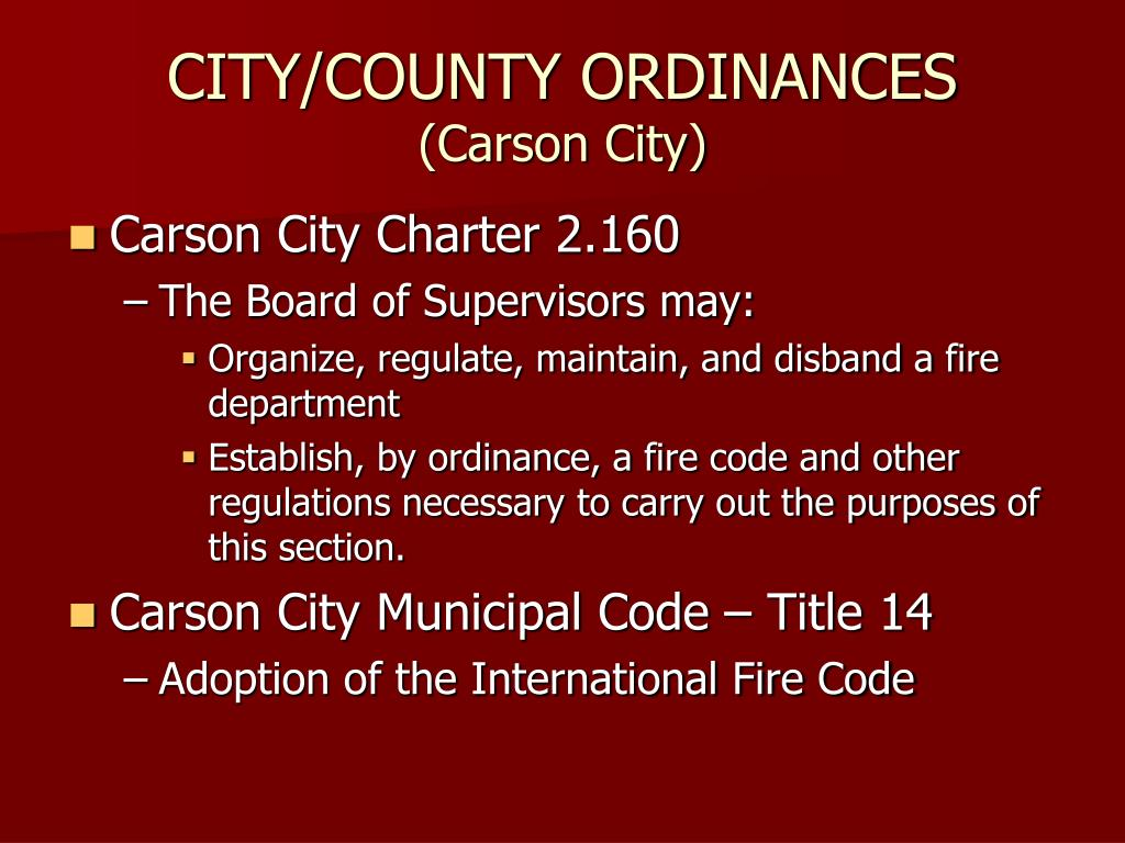 CITY/COUNTY ORDINANCES