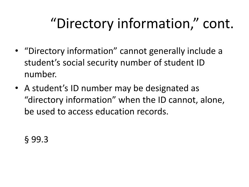 """""""Directory information,"""" cont."""
