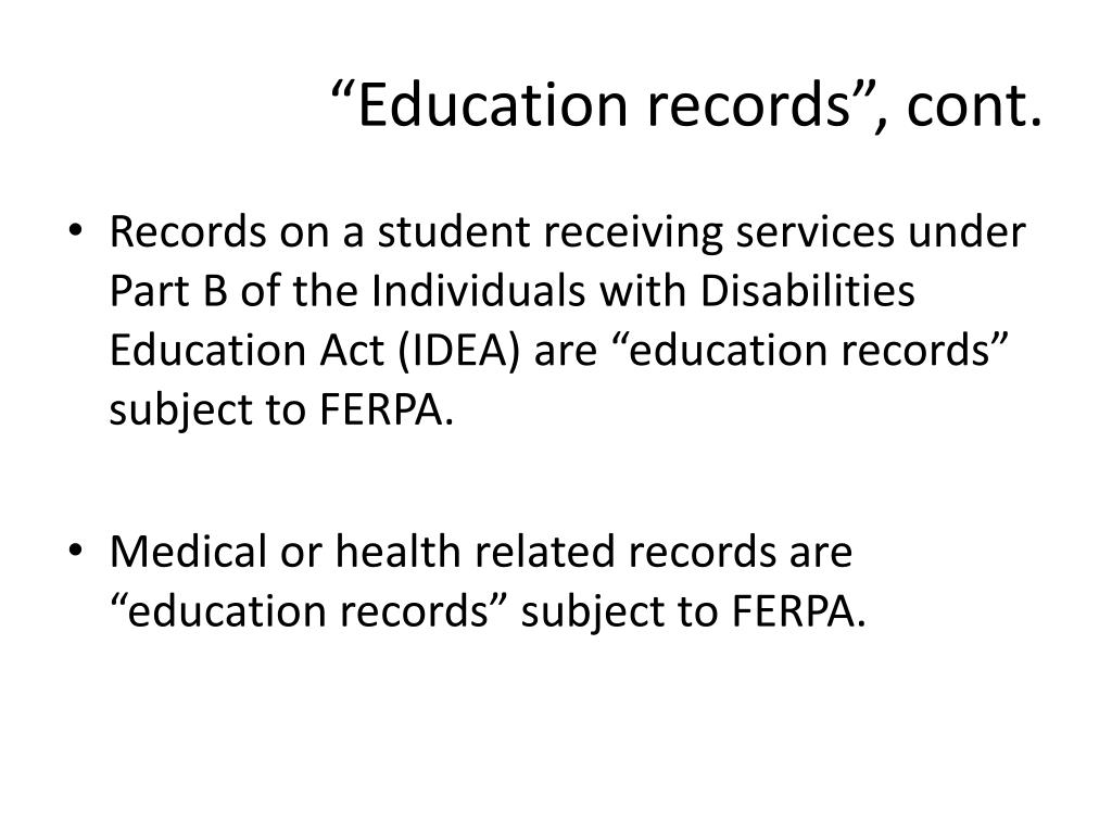 """""""Education records"""", cont."""