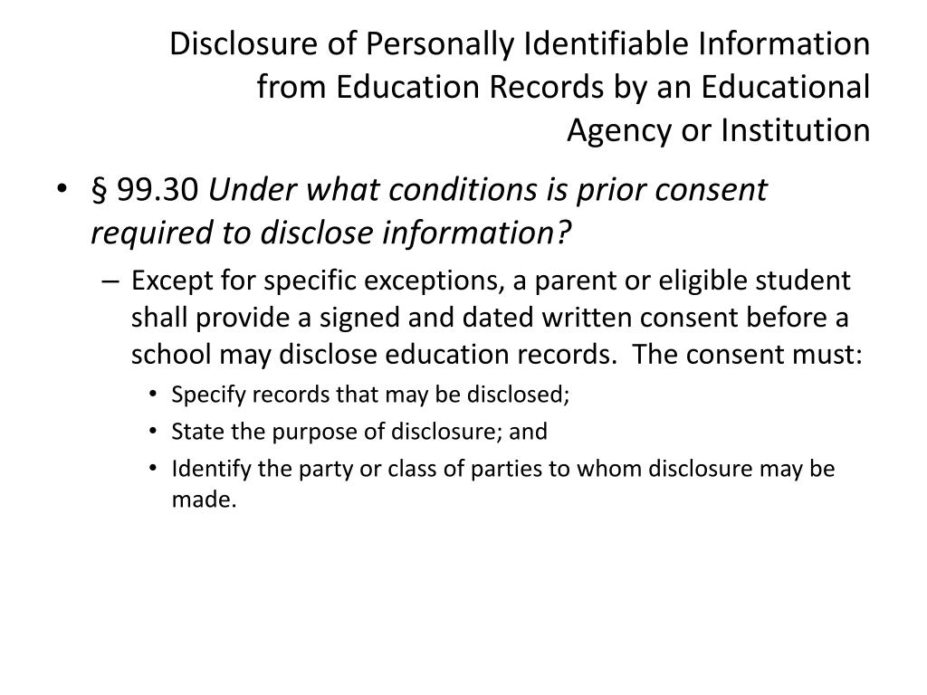 Disclosure of Personally Identifiable Information