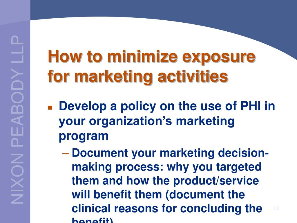 How to minimize exposure for marketing activities