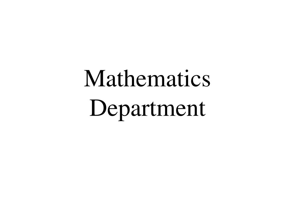 Mathematics Department