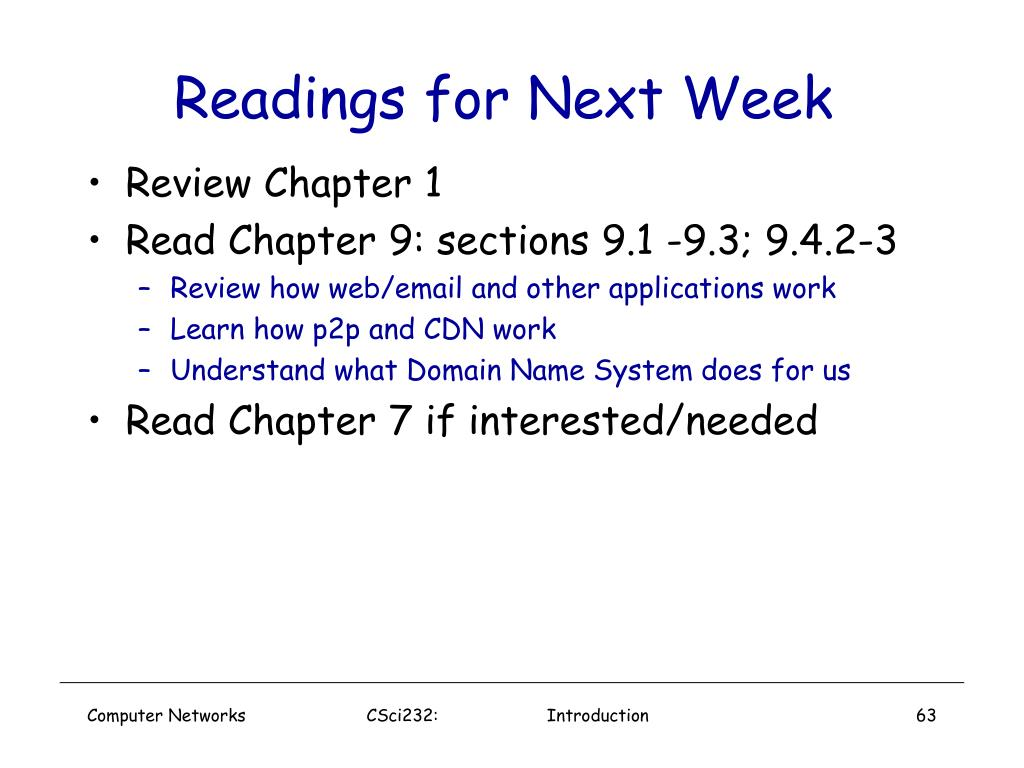 Readings for Next Week