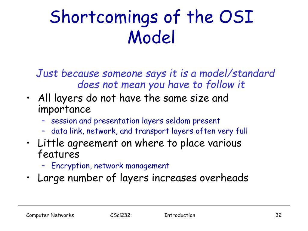 Shortcomings of the OSI Model