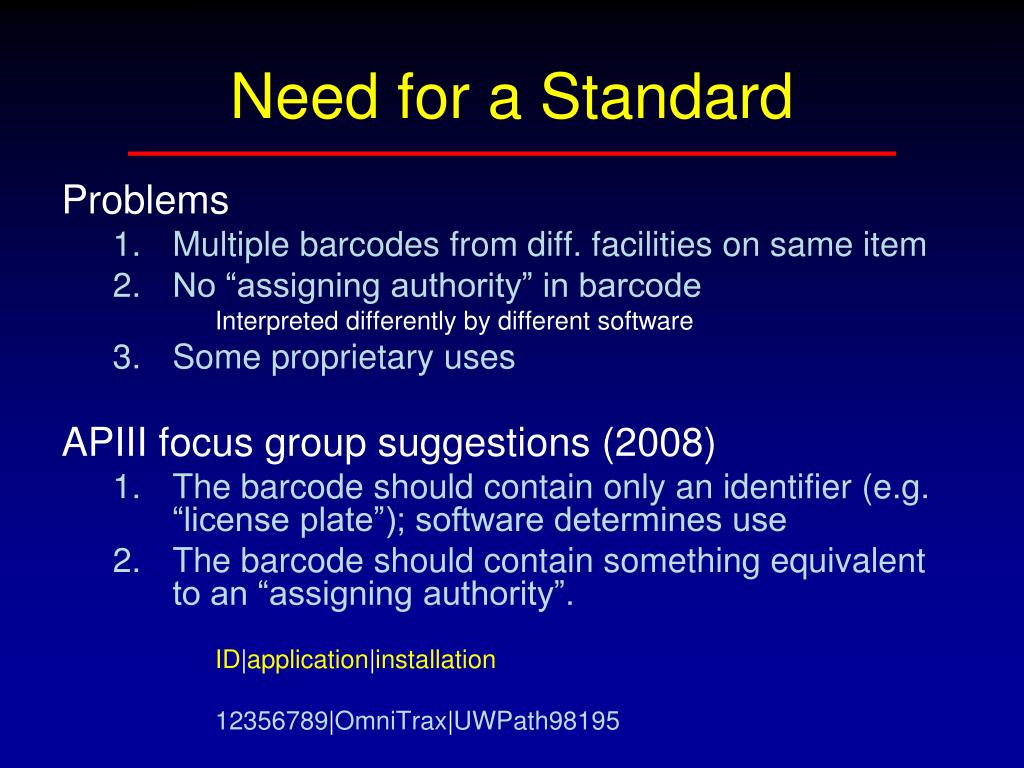 Need for a Standard