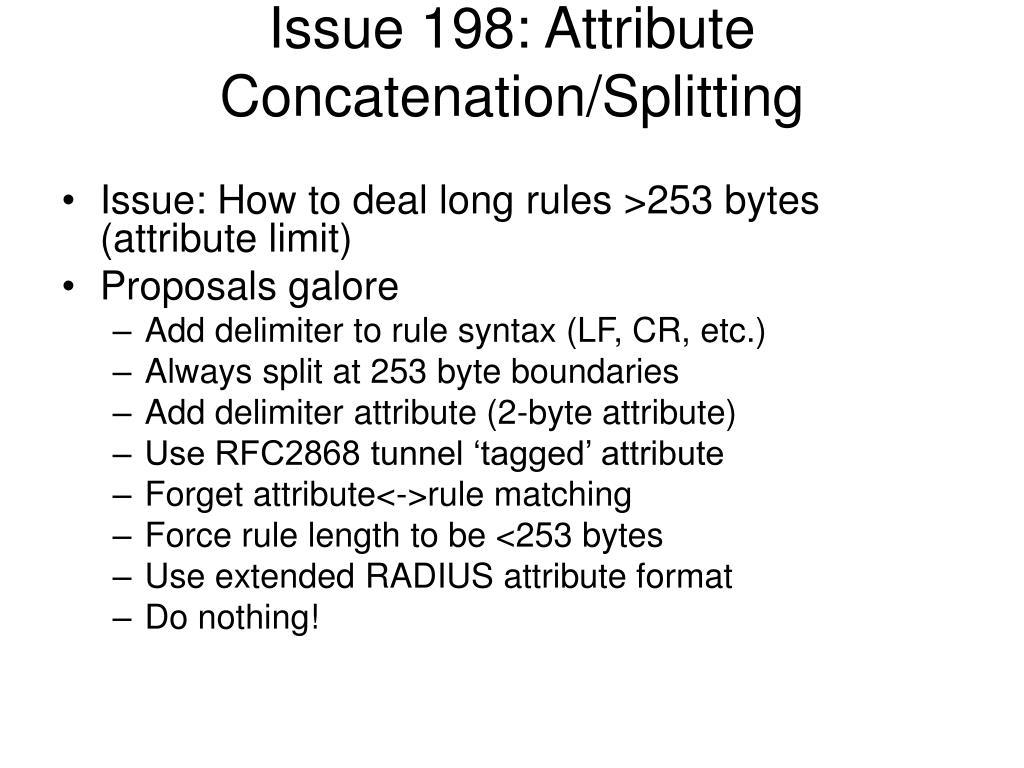 Issue 198: Attribute Concatenation/Splitting