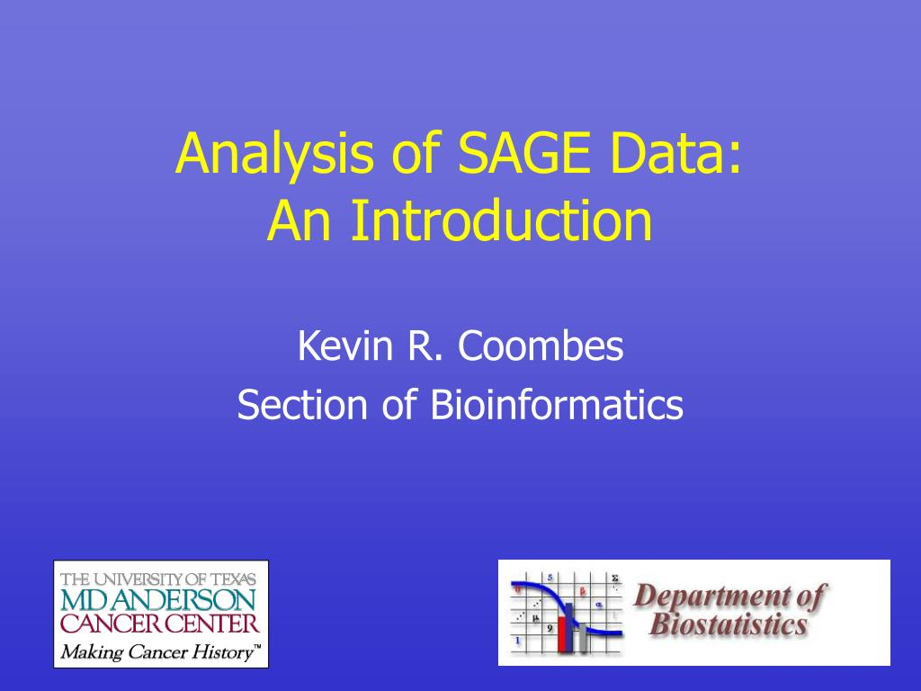 analysis of sage data an introduction l.