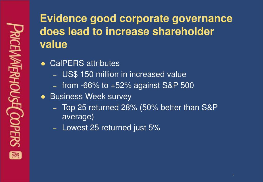 Evidence good corporate governance does lead to increase shareholder value