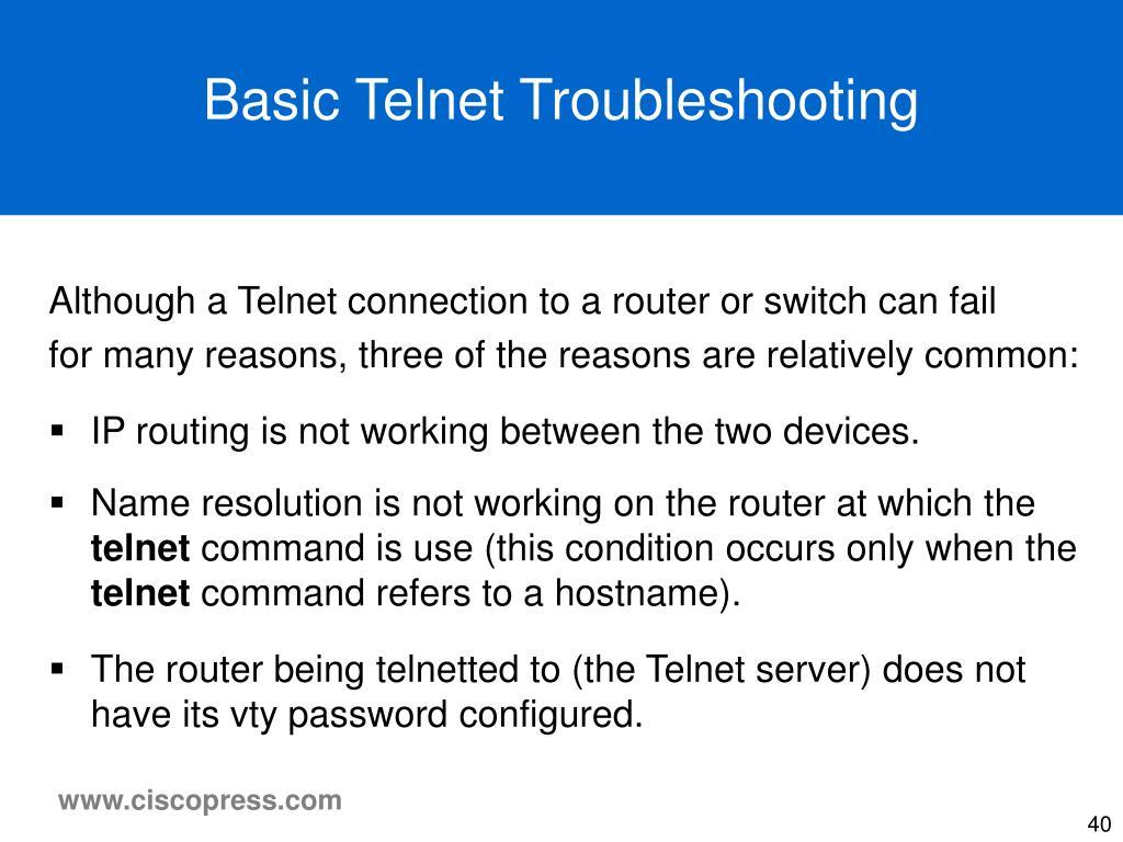 Basic Telnet Troubleshooting