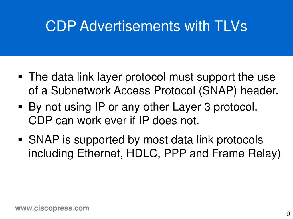 CDP Advertisements with TLVs