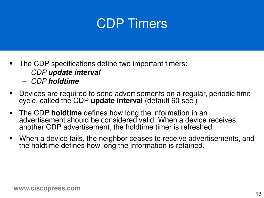 CDP Timers