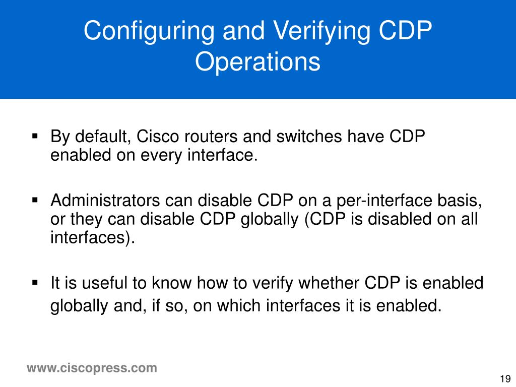 Configuring and Verifying CDP Operations
