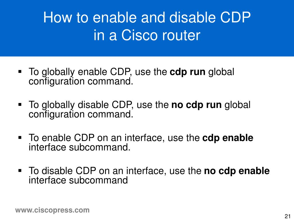 How to enable and disable CDP