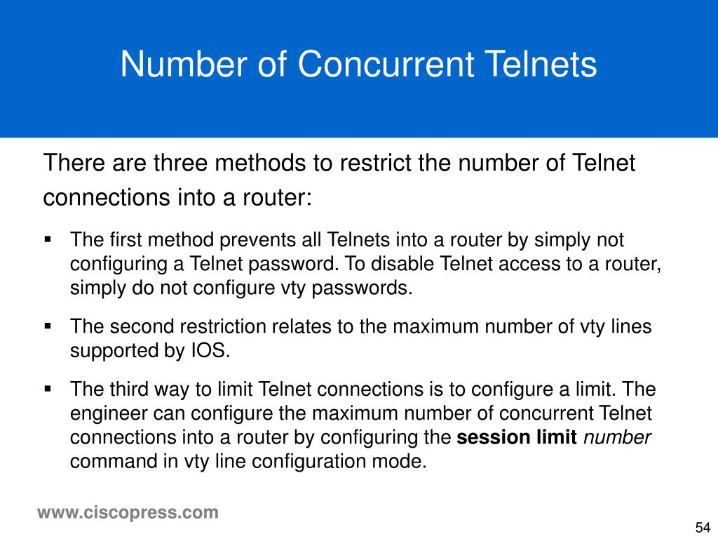 Number of Concurrent Telnets