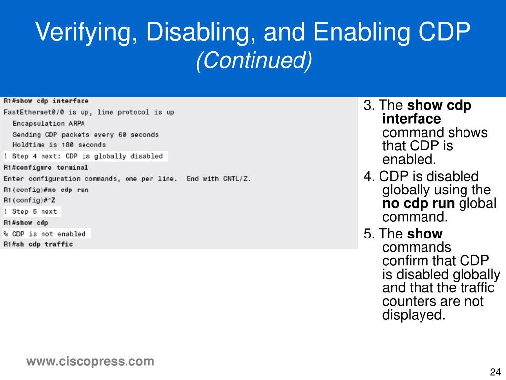 Verifying, Disabling, and Enabling CDP