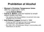 prohibition of alcohol