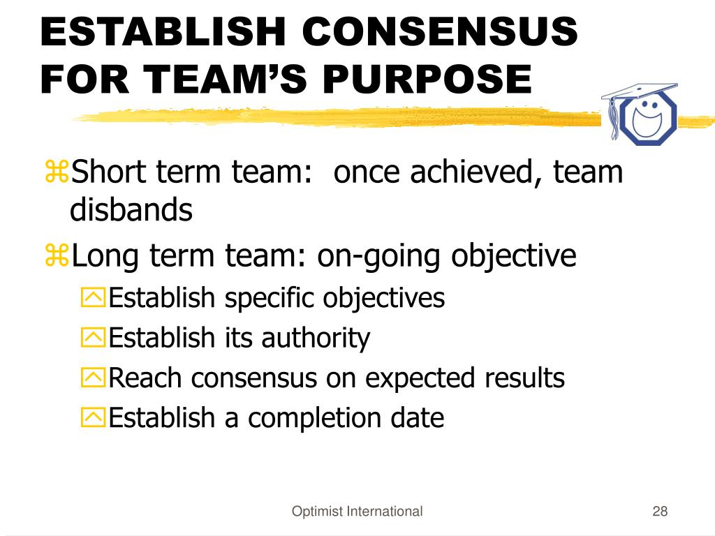 ESTABLISH CONSENSUS FOR TEAM'S PURPOSE