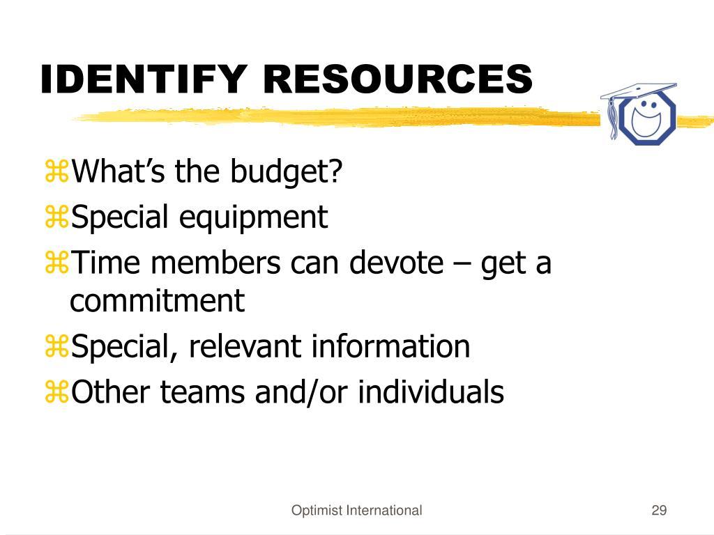 IDENTIFY RESOURCES