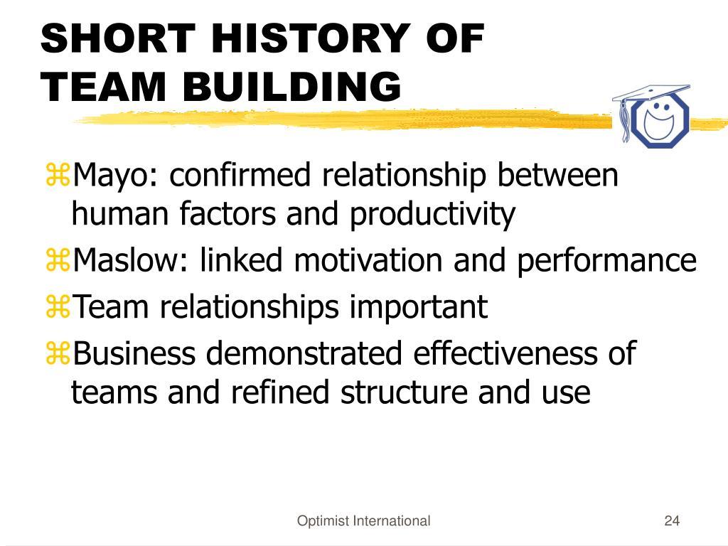 SHORT HISTORY OF TEAM BUILDING