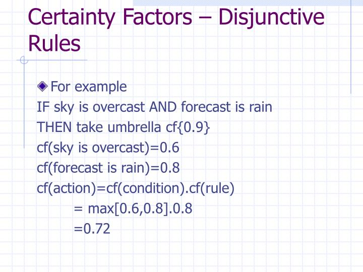 Certainty Factors – Disjunctive Rules