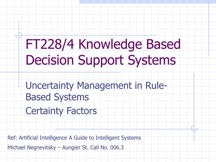Ft228 4 knowledge based decision support systems