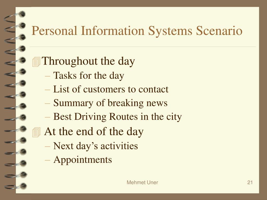 Personal Information Systems Scenario