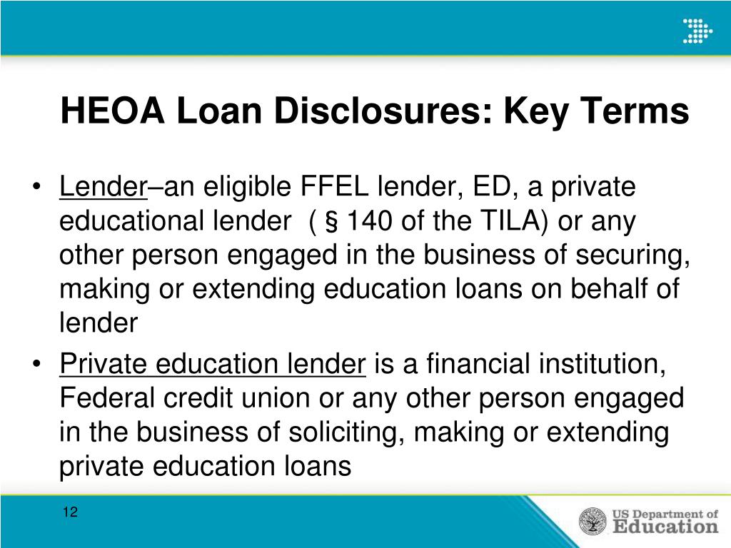 HEOA Loan Disclosures: Key Terms