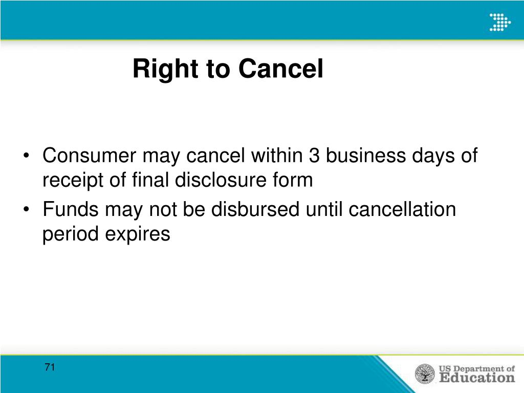 Right to Cancel