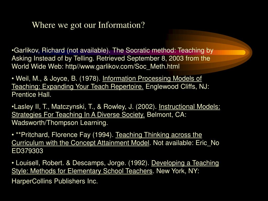 Where we got our Information?