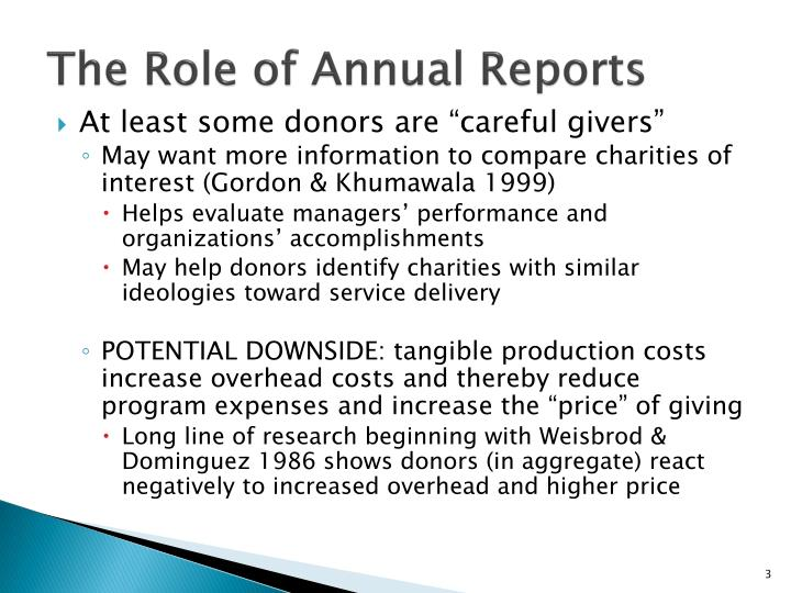 The role of annual reports