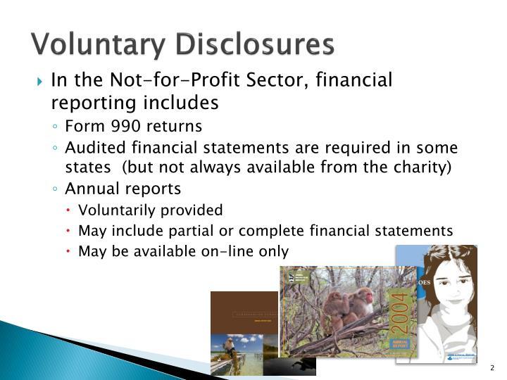 Voluntary disclosures