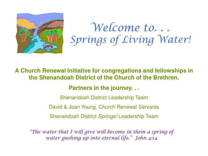 Welcome to springs of living water