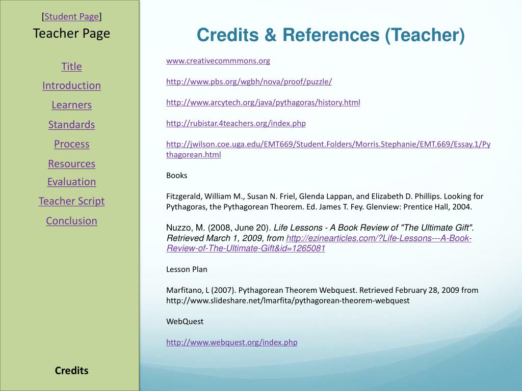 Credits & References (Teacher)