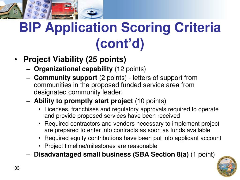 BIP Application Scoring Criteria (cont'd)