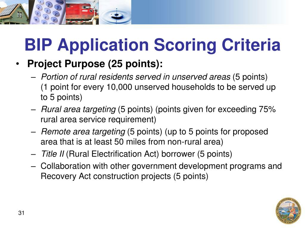 BIP Application Scoring Criteria