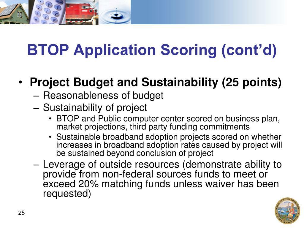 BTOP Application Scoring (cont'd)