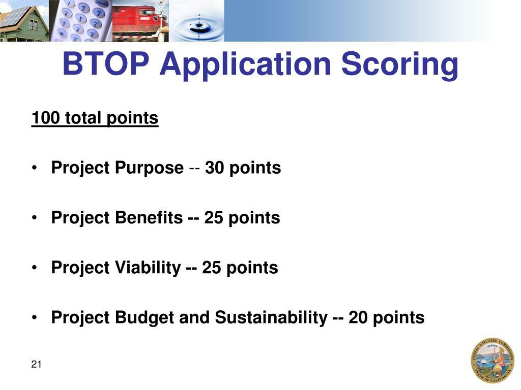 BTOP Application Scoring