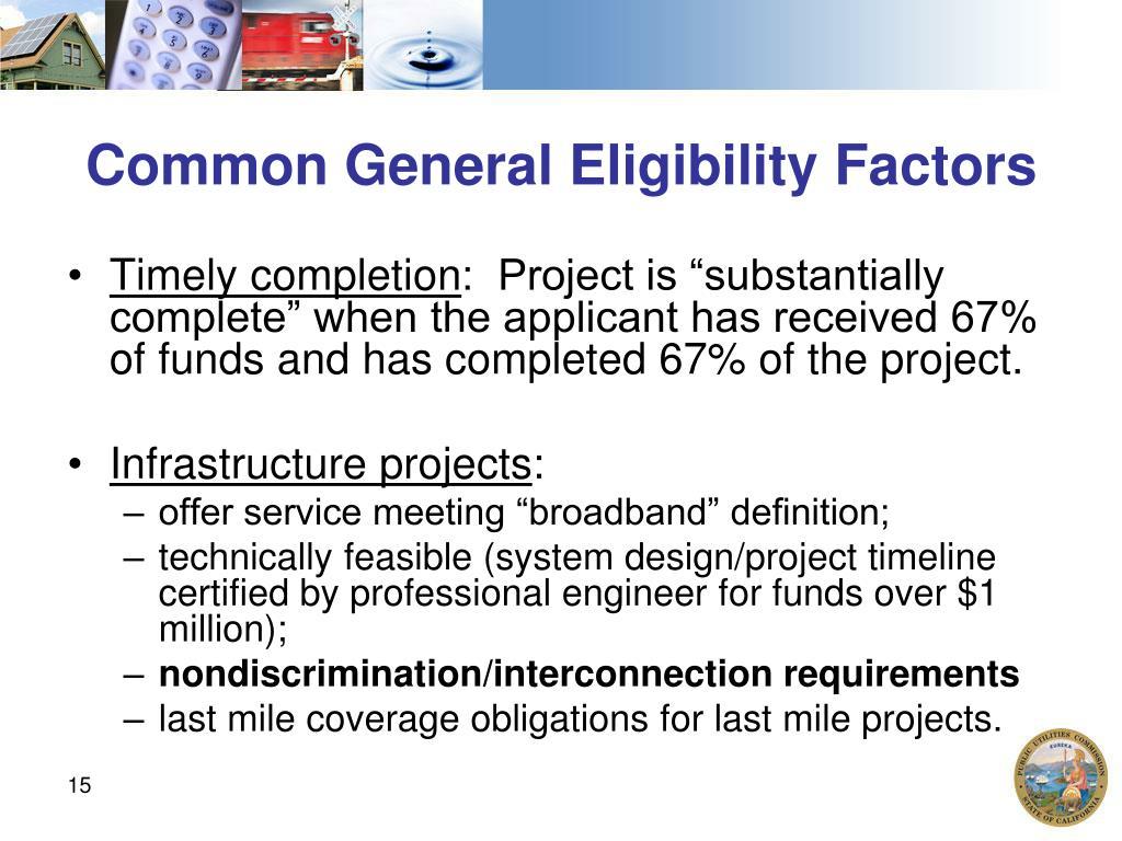 Common General Eligibility Factors