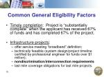 common general eligibility factors