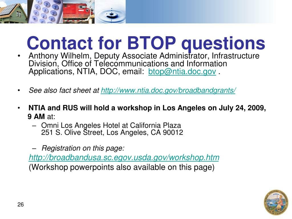 Contact for BTOP questions
